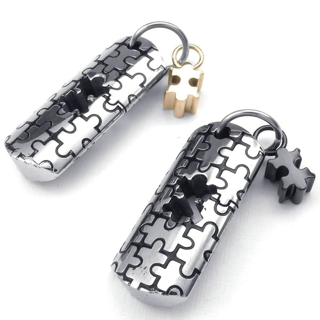 Bishilin Stainless Steel Fashion Men Women Necklace Pendant Jigsaw Puzzle Set Link