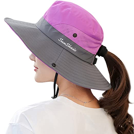Lanzom Women s Wide Brim Outdoor UV Protection Foldable Mesh Beach Sun Hat  Fishing Cap (Purple 677300456ba9