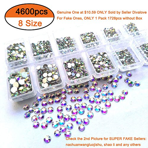 Queenme 4600pcs Nail Crystals Flatback Nail Art Rhinestones AB Diamonds Round Beads Mix 1.3mm-6mm Glass Charms Gems Stones for Nails Decorations Crafts Makeup Clothes Shoes by Divalove Beauty