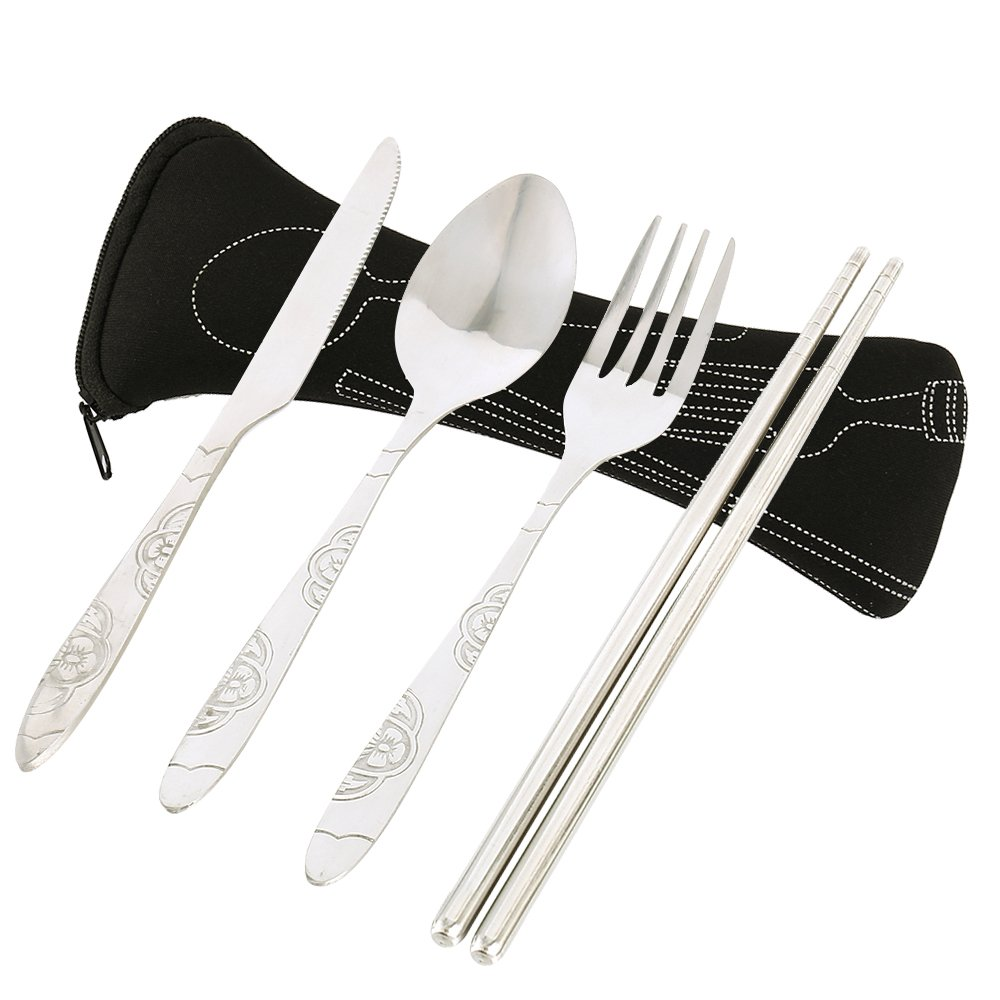Librao 4pcs Travel Cutlery Set Stainless Steel Silver Flatware Knife Fork Spoon Chopsticks Portable Camping Picnic Set Case