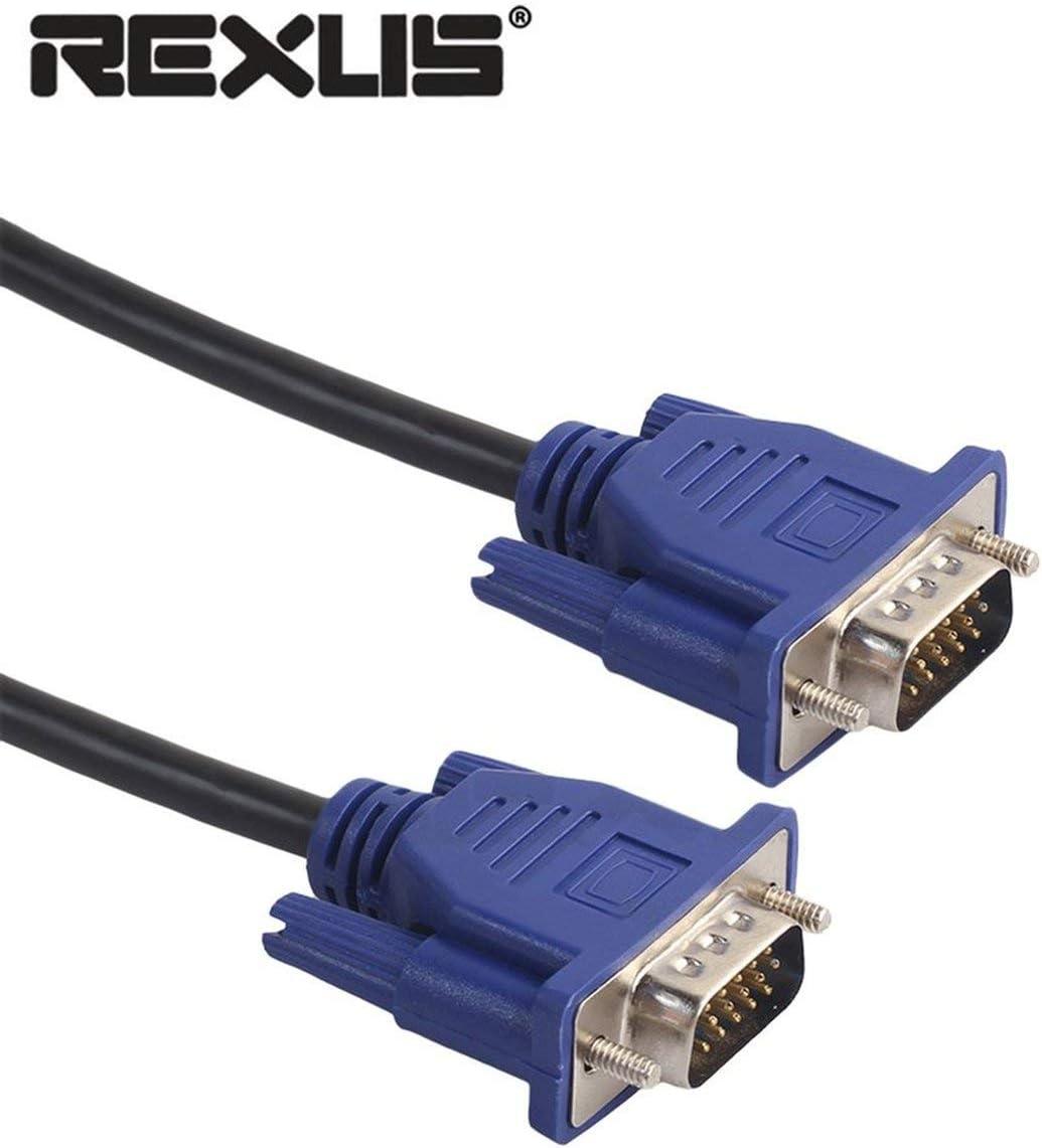 Nero e Blu Dailyinshop Cavo VGA REXLIS HD 15 Pin Maschio a Maschio VGA Cavo di prolunga per Computer Portatile per PC Notebook proiettore Monitor LCD