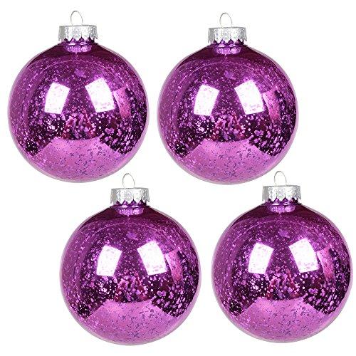 Large Ball Ornament (KI Store Christmas Mercury Ball Ornaments Outdoor Hanging Tree Decorations Large Shatterproof Shinny Vintage Balls Set of 4 (4