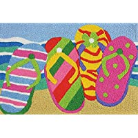 Jellybean Summer Flip Flops in the Sand Washable 21 X 33 Inches Area Accent Rug