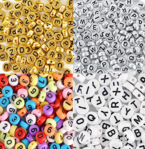 AlphaAcc Round Shape 1600 Assorted Threadable Letter Beads - Perfect for Card Making, Scrapbooking, Jewelry Making, Festive Christmas Crafts (4 Color -
