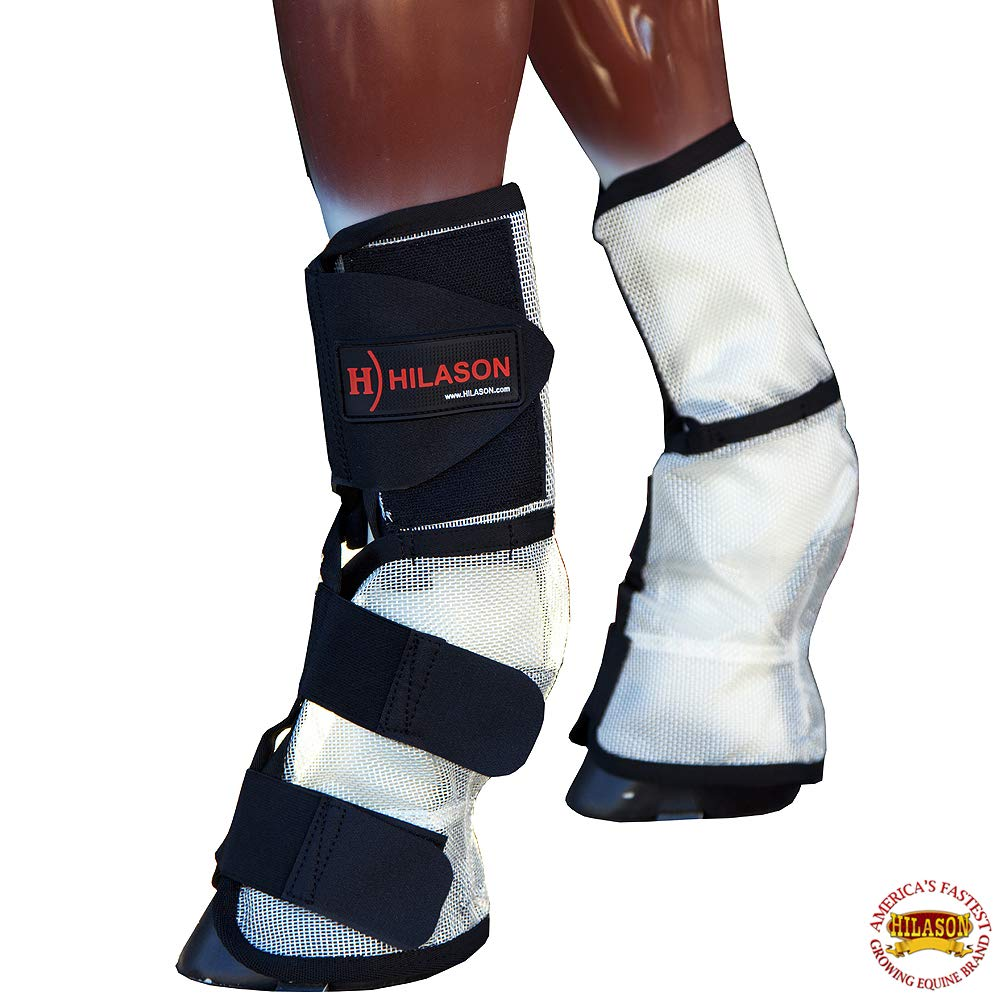 HILASON Western UV Protection Horse Size Insects Fly Boots White Black