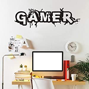 """1 Pcs Gamer Wall Decal and 1 pcs Never give up Sticker for Gamer Fans Men 's Living Room, Gamer Boys Children Kids Play Room Bedroom Game Room Wall Decor Home (Small W 22.7""""x H 7.8 """")"""