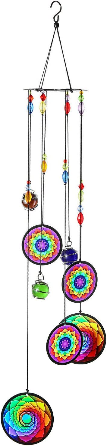 COTO Wind Chimes Outdoor Indoor Hanging, Flower of Life Wind Chimes Bells Wall Hanging Decor Memorial Mandala Windchimes for Garden, Yard, Patio, Home Decoration and Gift