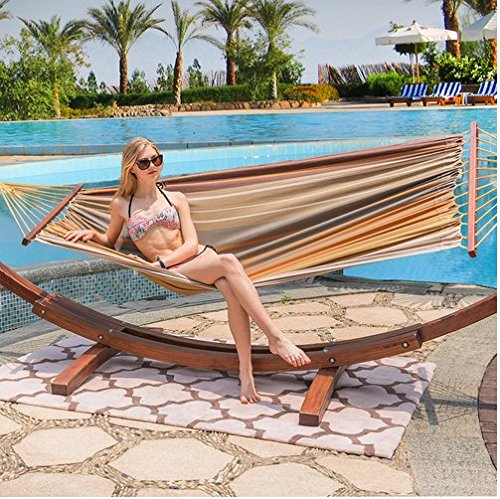 HomyDelight 12Feet Wood Arc Hammock Stand and Cotton Fabric Spreader Bar Hammock Combo, Mother Earth Striped Canvas Brass 138