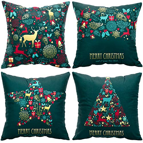 Christmas Pillow Covers 4 Decorative Pillow Covers 18x18 Velvet Green Throw Pillow Covers Xmas Holiday Pillow Covers 4pc Christmas Pillowcase Velvet (Pillow Throw Covers Velvet)