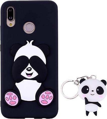 HopMore Silicone Coque pour Huawei P20 Lite Souple Motif Panda 3D Design Drôle Mignonne Etui Étui Antichoc Ultra Mince Fine Gel Bumper Slim Case ...
