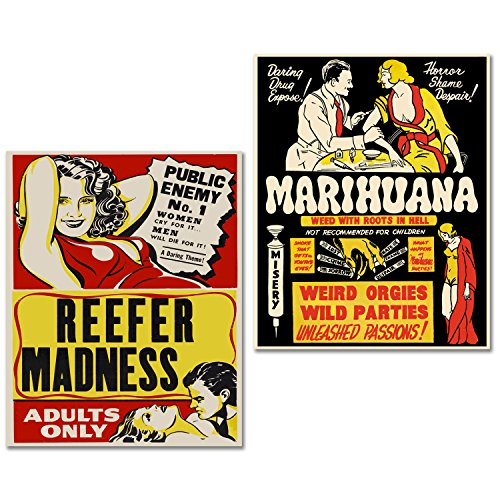 Reefer Set - BigWig Prints Marijuana Cannabis Propaganda Posters Reefer Madness Set of 2 (8 inches x 10 inches) Photos - Wall Art Decor Posters