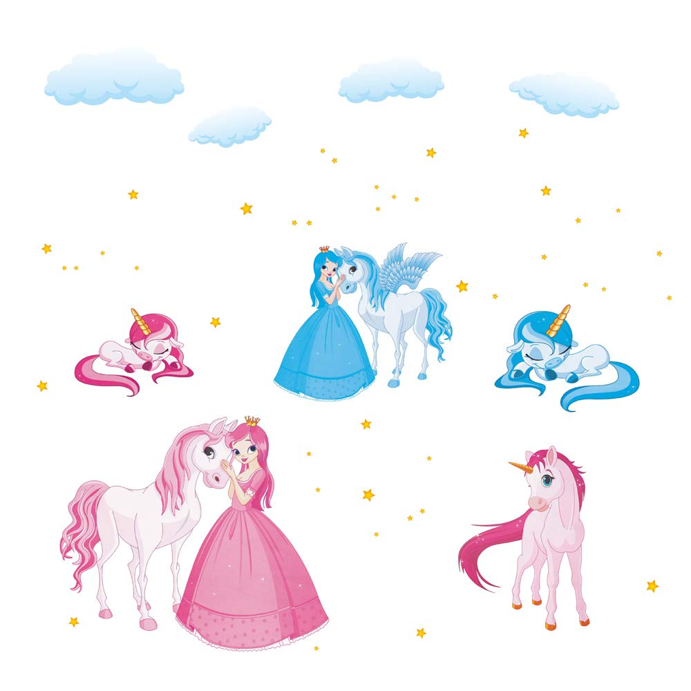 decalmile Princess and Unicorn Wall Stickers Girls Wall Decals Peel and Stick Removable Vinyl Wall Art for Baby Room Kids Bedoom Nursery