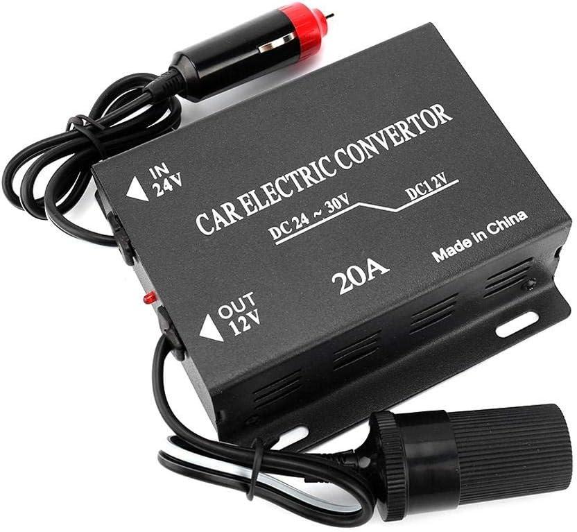 Convertidor de fuente de alimentación 20A Coche Transformador reductor de 24V a 12V Tipo de encendedor de cigarrillos