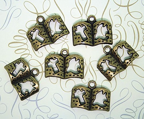6 Bible Charms Antique Bronze Tone with Cut Out Dove and Cross ODSF-8198