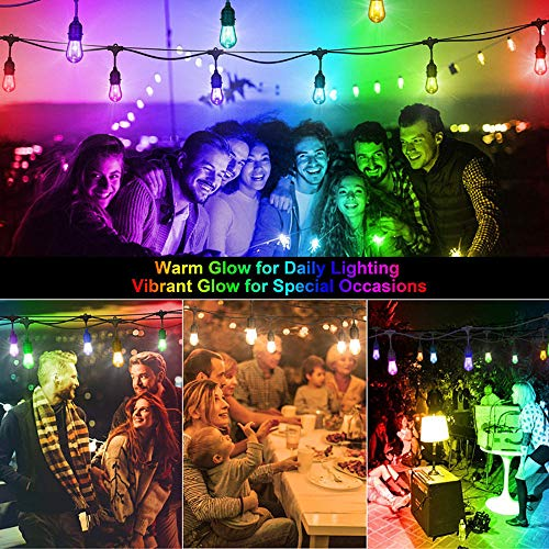 Commercial Grade Outdoor String Lights - 48FT RGB LED String Lights 15 Hanging Sockets Edison Bulbs Dimmable Remote Control Heavy-Duty Weatherproof Cord Strand for Garden Party Christmas