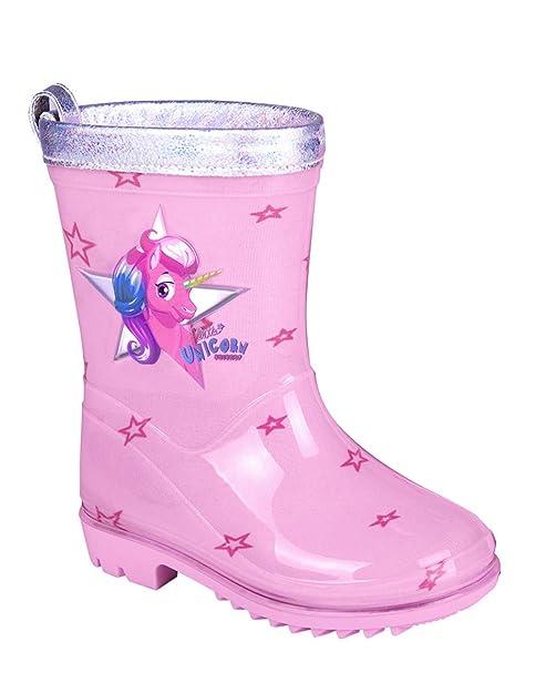PERLETTI Botas de Agua Niña Unicornio Botines Infantiles Impermeables de Moda Rosa Estampados Estrellitas Suela Antideslizante y Ribete Plateado