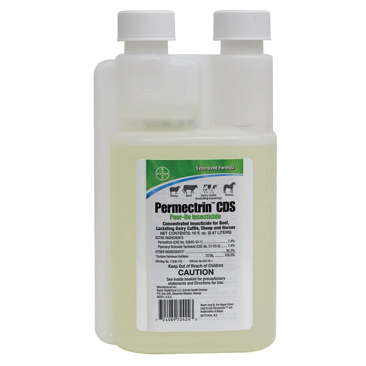Bayer 16 Fl Oz Permectrin CDS Pour- On Insecticide Synergized Formula Beef Dairy Cattle Sheep Horses