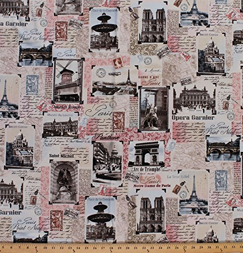 Landmark Monument (Cotton Paris France Postcards Stamps Monuments Statues Calligraphy Eiffel Tower Vintage Landmarks Collage Cotton Fabric Print by the Yard (paris-2810-blush))