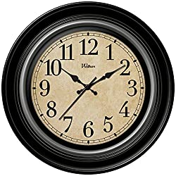 Ashton Sutton Round Quartz Analog Wall Clock, 12-Inch, Deep Dish Black Case with Silver Bezel