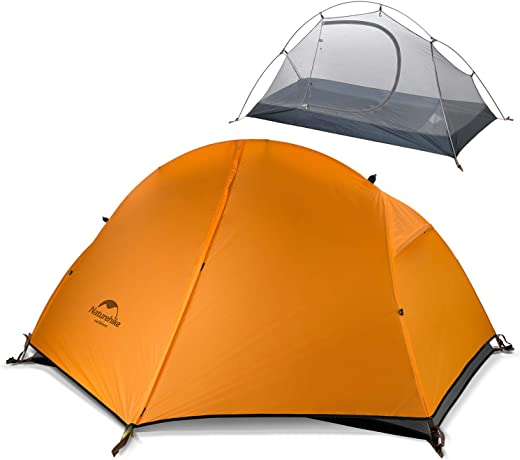 Naturehike Backpacking Camping Tent 1 Person Ultralight Waterproof Anti-UV Double Layer Portable for Outdoor Hiking Cycling Bikepacking, 3 Season, Easy Setup, Large Size with Footprint