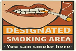 Metal Tin Sign-Signboard Designated Smoking Area with A Pattern of Human Lips and Lit Cigarette-Metal Tin Sign Retro Home Kitchen Office Garden Garage Wall Decor Tin Plaque DMF20x30cm