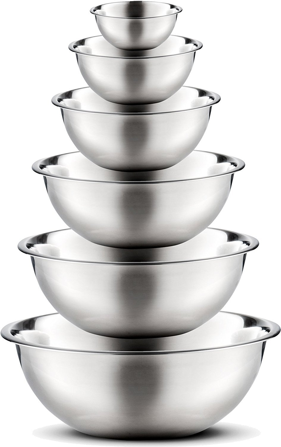 FINEDINE 6 Piece Mixing Bowl Set - Premium Quality Stainless Steel Nesting Mixing Bowls