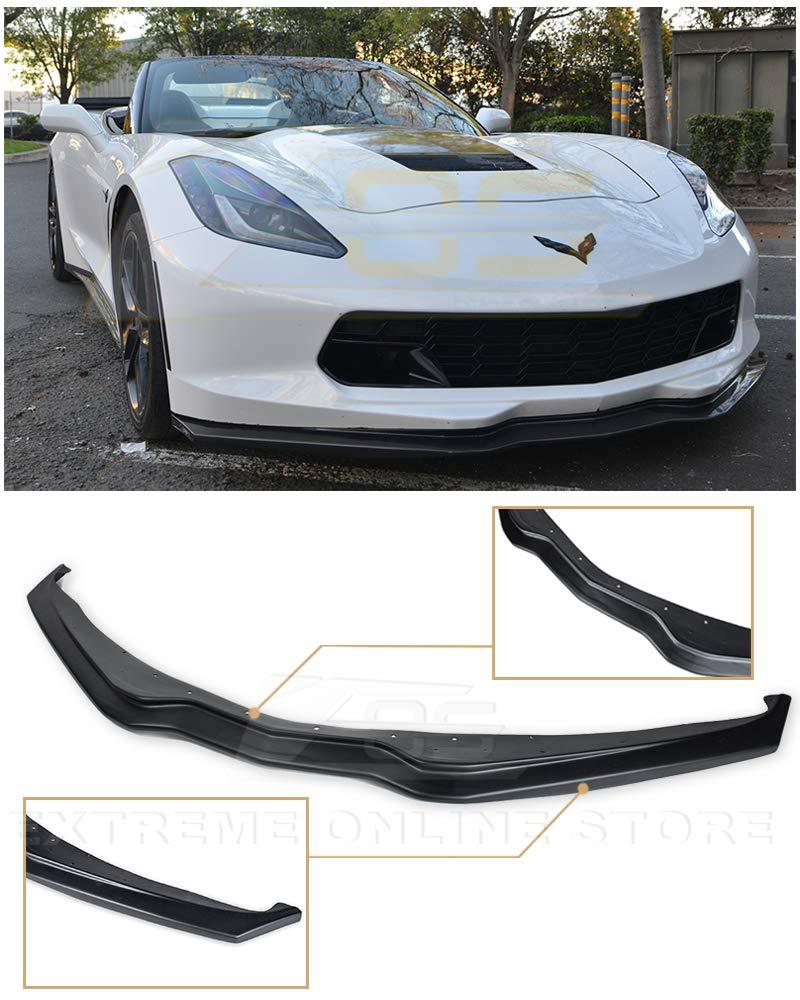 Extreme Online Store for 2014-Present Chevrolet Corvette C7   EOS Z06 Z07 Stage 2 Style ABS Plastic Primer Black Front Bumper Lower Lip Splitter