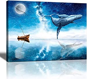 Kids Room Decor For Girls Boys Wall Decor Bathroom Cute Room Decor Paintings For Living Room Bedroom Wall Art Blue Sea Canvas Wall Art Watercolor Whale Picture Dream Artwork Baby Girl Boys Room Decor