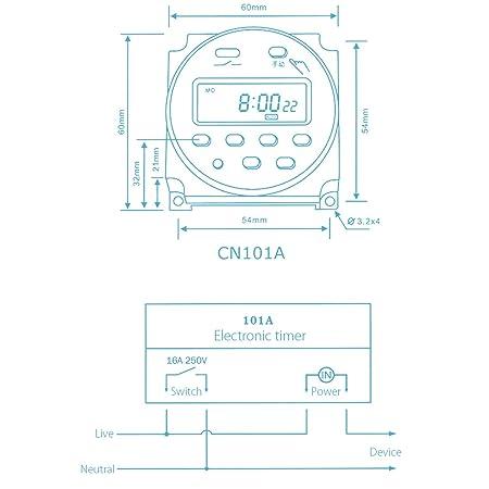 Neewer - Temporizador digital con pantalla LCD (12 V, 16 A)