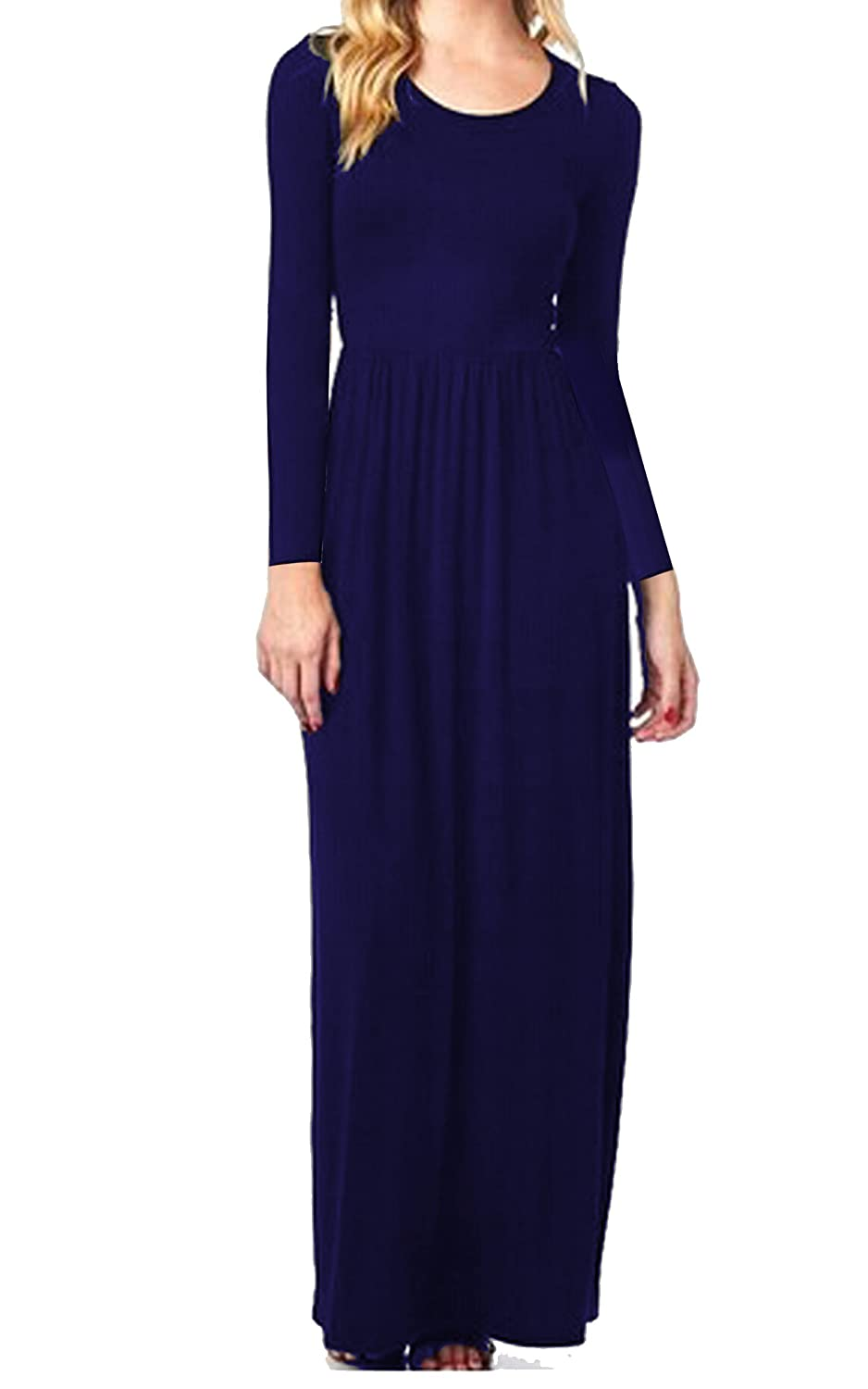 68c73f142f Meaneor Women's 3 4 Sleeve Solid Plus Maxi Long Dress with Elastic  Waistband at Amazon Women's Clothing store:
