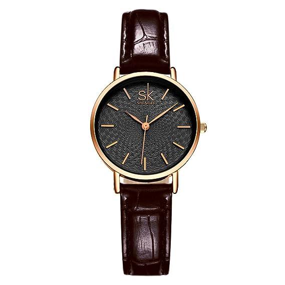 SK Fashion mujer relojes Simple color negro correa de piel resistente al agua minimalismo Lady reloj de pulsera Oro rosa 2017: Amazon.es: Relojes