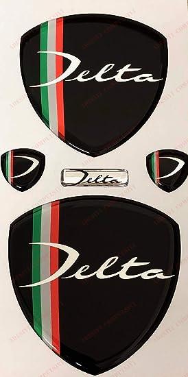 2 Stemmi Laterali Logo Delta Anteriore per Cofano e Baule Fregi Nero /& Tricolore Adesivi resinati Effetto 3D Posteriore