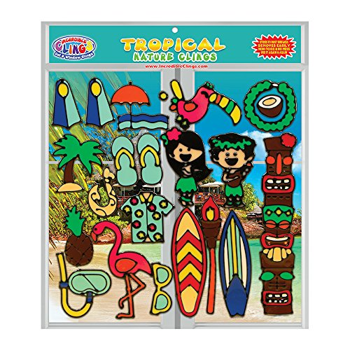 Tropical Gel Clings for Kids and Adults (21 Piece Set) - Surfboard, Pineapple, Hawaii, Polynesia, Hula, Flamingo, Palm Tree and More Removable Reusable Thick Vinyl Window and Wall Gel Clings