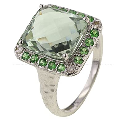 673040bc0622a Green Amethyst, Tsavorite & Diamond 9ct White Gold Cocktail Ring ...