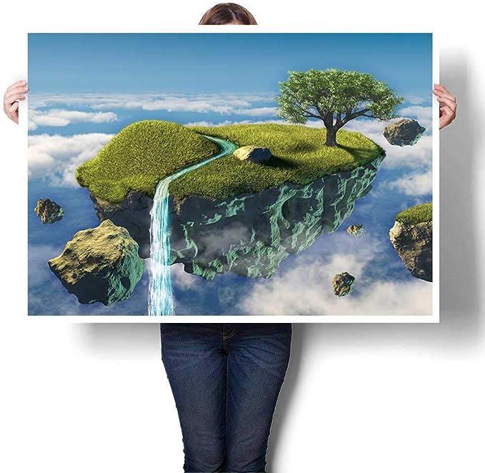 Pintura a mano en 3D, pequeña isla flotante en el cielo, arte digital para pared para pasillo, baño, (sin marco): Amazon.es: Juguetes y juegos