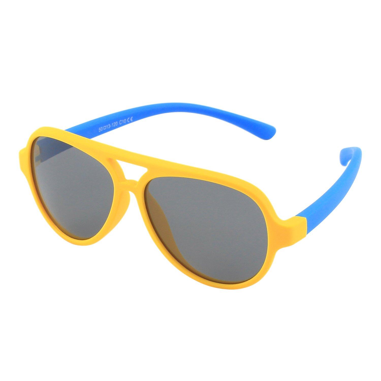 CGID Occhiali da Sole per Bambini Gommati Flessibili Aviator Lenti Polarizzate per Bimbi e Bambini 3-6 Anni, K93 CSFBAET893-5