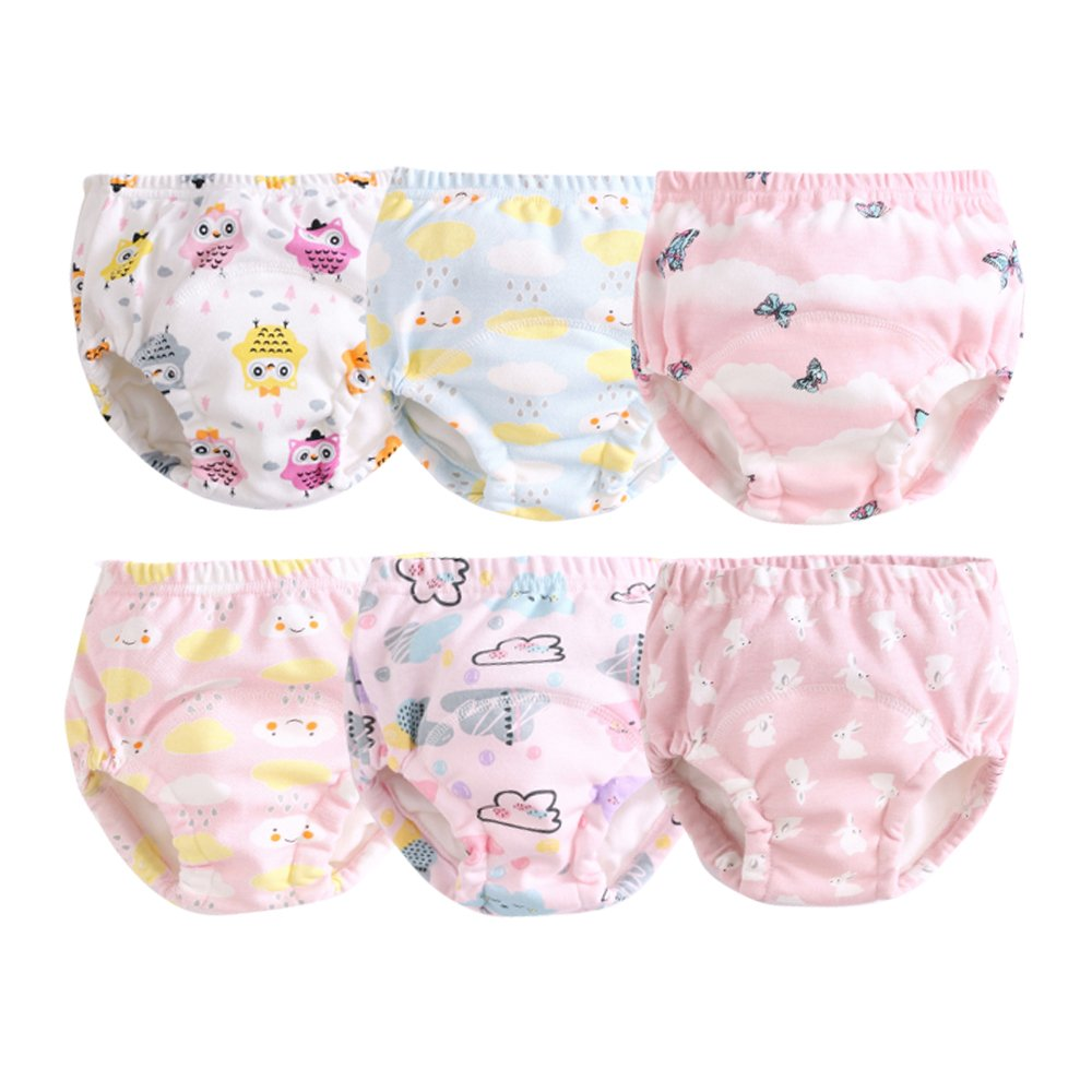 Orinery Cotton Reusable Toddler Baby Training Pants 6-Pack (1-2 Years Old, for Girls(Random Patterns))