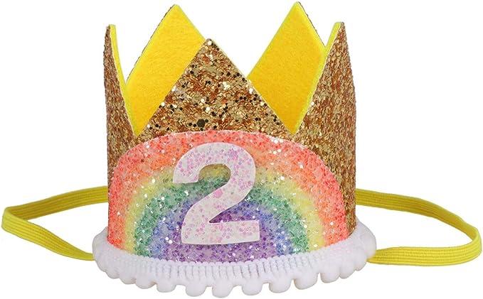 Amosfun Arcoiris Corona de Cumpleaños Número 2 Princesa Tiara Corona Diadema Corona Sombrero Fiesta Niño Cumpleaños Fiesta Favores (Dorado Y Arcoiris Encaje Blanco)