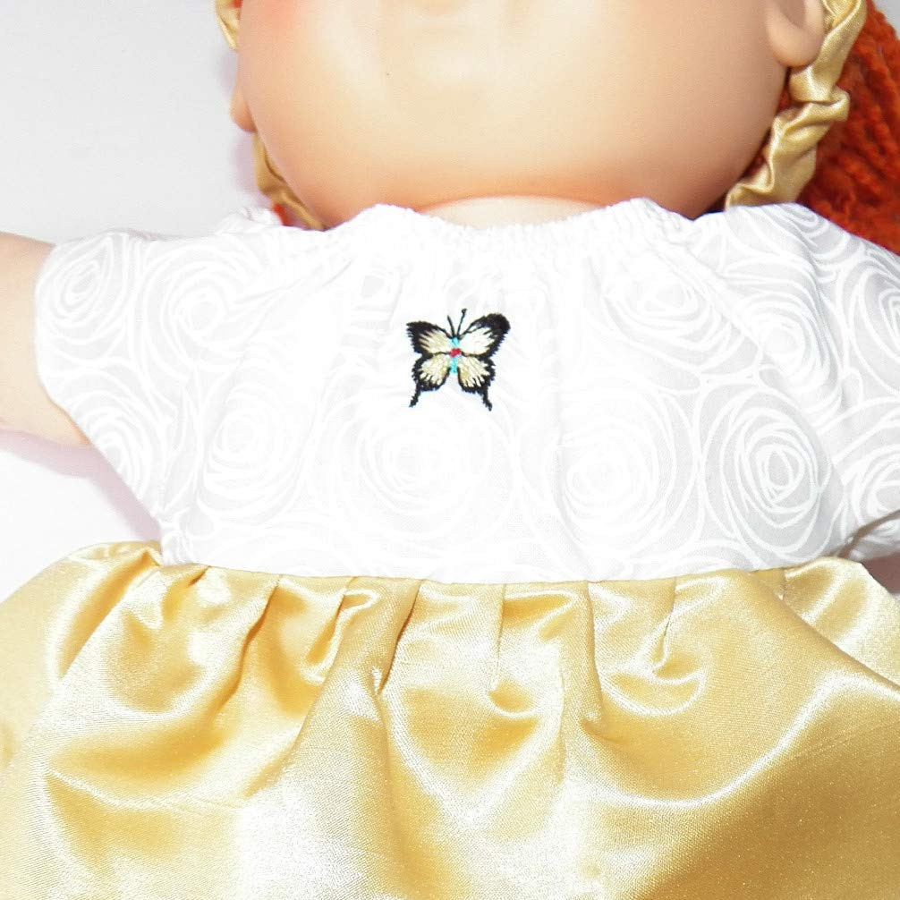 Cabbage Patch Doll Clothes 16 Inch Girl Size Yellow Butterfly Dress and Headband No Doll