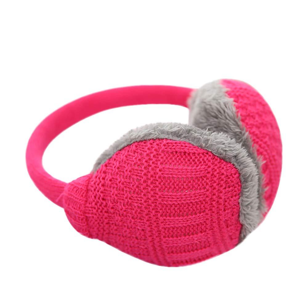 Voberry Unisex Knit Earmuffs Faux Fur Furry Plush Earwarmer Winter Outdoor Ear Muffs for Men Women Girls Boys (Hot Pink)