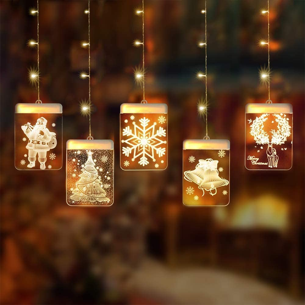 3D LED Window Curtain String Lights - 5pcs 2020 USB Charging Acrylic Fairy Lights USB Powered Christmas Decoration Décor Hanging Light Atmosphere Lamp for Indoor Outdoor Christmas Wedding Party Hotel