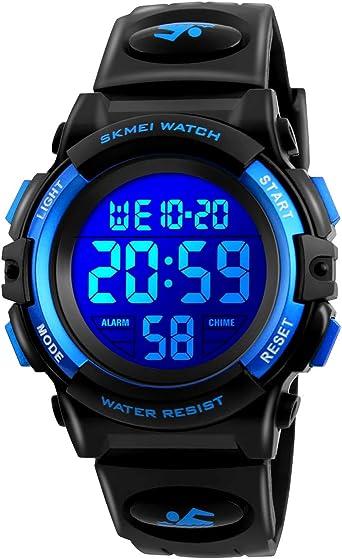 CestMall Reloj Deportivos para Niños Niño Niña Resistente al Agua Digital Impermeabl Deportivos al Aire Libre LED Despertador Multifuncionales Relojes de Pulsera Digitales Infantiles para niños: Amazon.es: Relojes