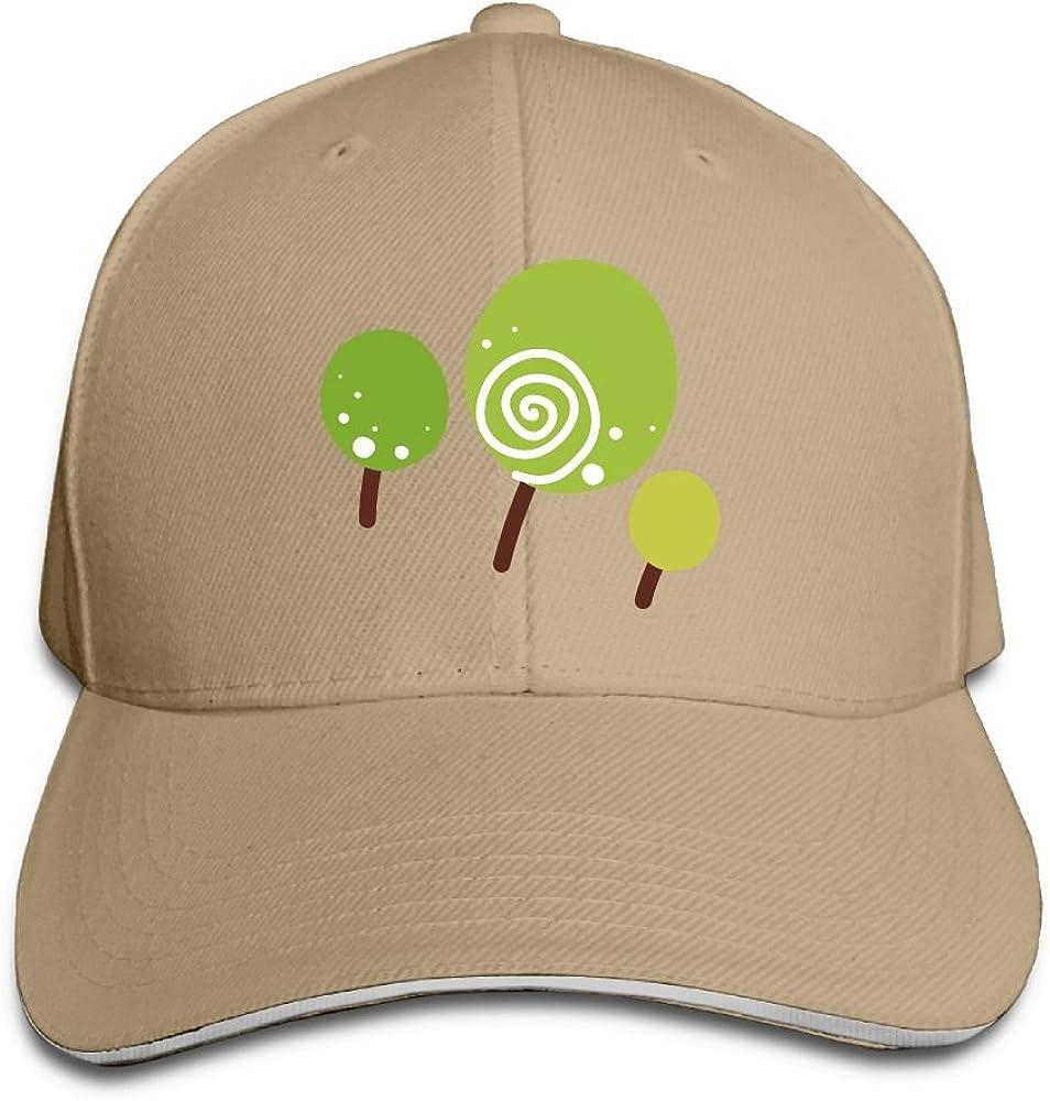 Unisex Cartoon Green Trees Art Sandwich Peaked Cap Adjustable Cotton Baseball Caps