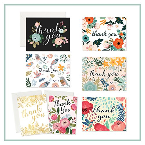Thank You Cards – 37 Beautiful Thank You Card – Blank Cards – White Envelopes Included - Bridal, Baby Showers and Business