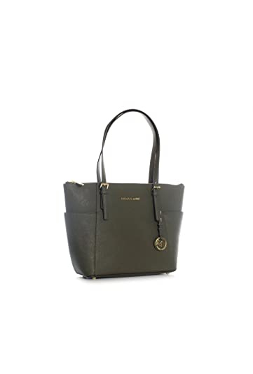51f90708b186 Amazon.com: Michael Kors Jet Set Item EW TZ Tote Loden Green Saffiano  Leather: Shoes