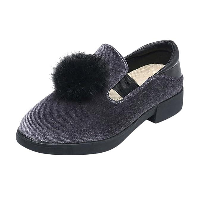 YanHoo Zapatos para niños Lana de Color sólido para niños Compra Bola Antideslizante Zapatos Casuales Zapatos de Princesa Zapatos Individuales Zapatilla de ...