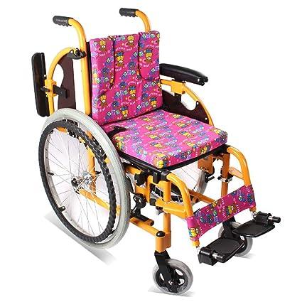 QETU Silla de Ruedas para niños Ligera de aleación de Aluminio, apoyabrazos Ajustables - Pedal