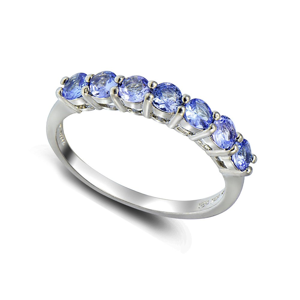 Sterling Silver Tanzanite Half Eternity Band Ring, Size 8