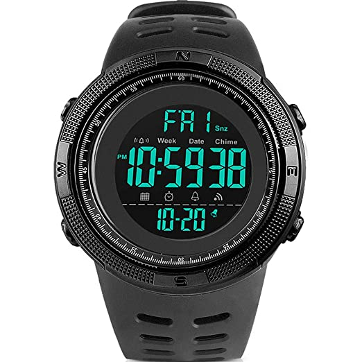 Multi-functional Mens Dual Display Wristwatch 50m Waterproof Sports Watch Led Digital Countdown Chronograph Watch El Backlight Smart Watches