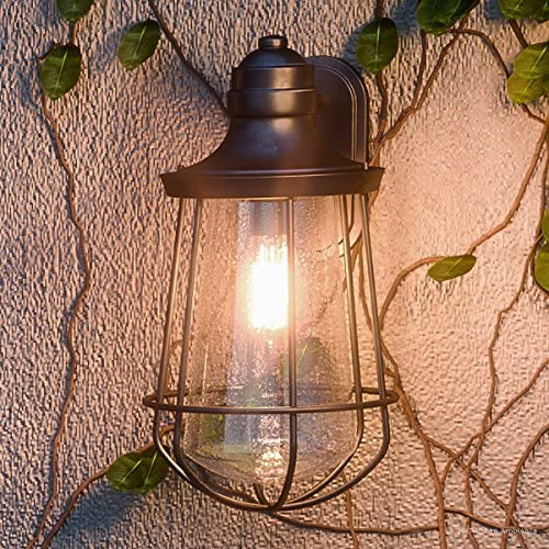 Luxury Vintage Outdoor Wall Light, Medium Size 17 H x 9.5 W, with Nautical Style Elements, Cage Design, Estate Bronze Finish and Seeded Glass, Includes Edison Bulb, UQL1122 by Urban Ambiance